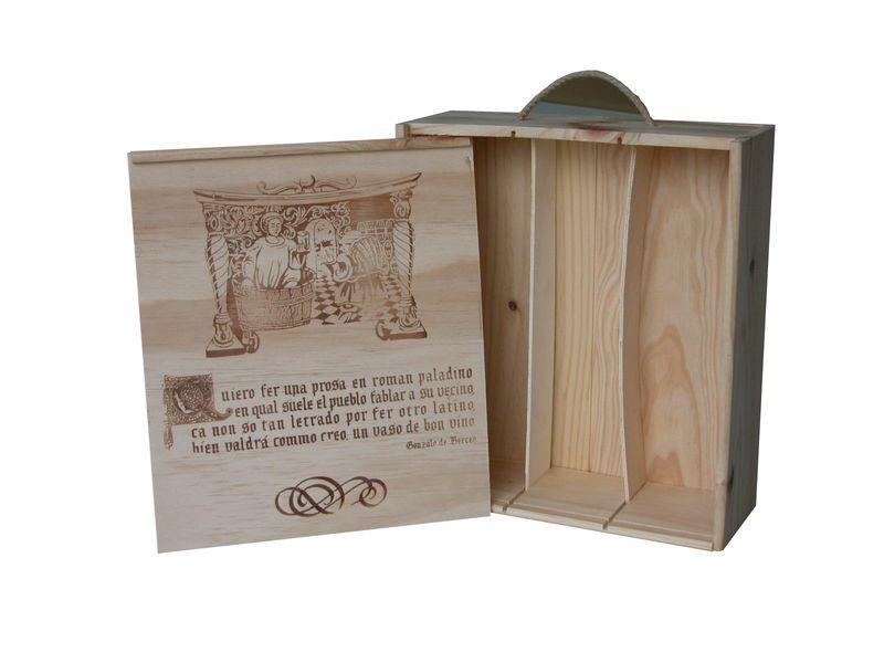Caja de madera para 3 botellas con tapa corredera for Caja madera con tapa