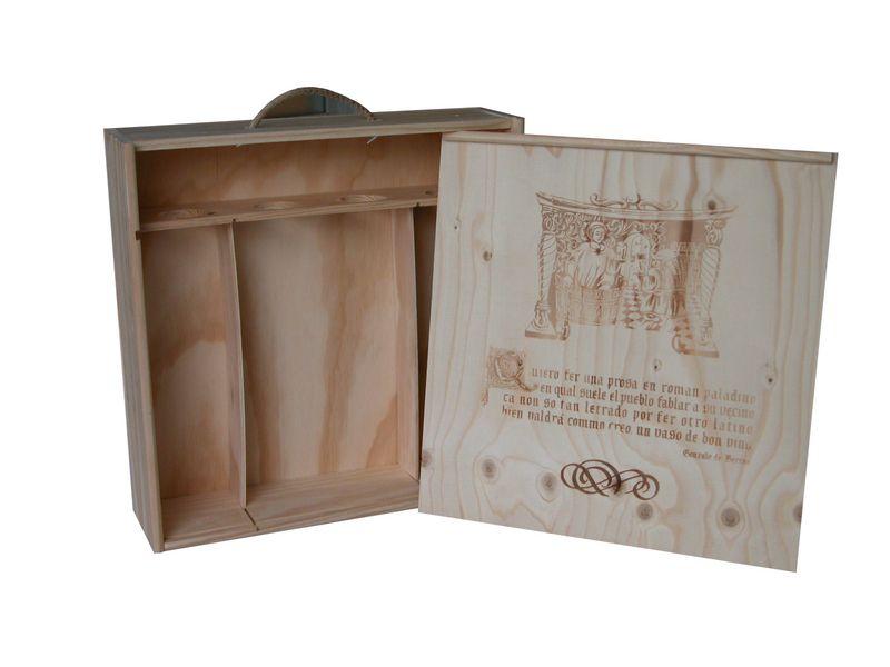 Caja de madera para 4 botellas con tapa corredera for Caja madera con tapa