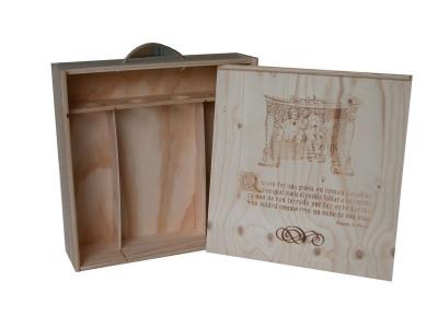 Caja de madera para 4 BOTELLAS de Cava/Vino con tapa corredera